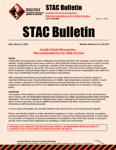 STAC Bulletin SB 0005 Inside Climb Monopole Access Recommendations Page 1