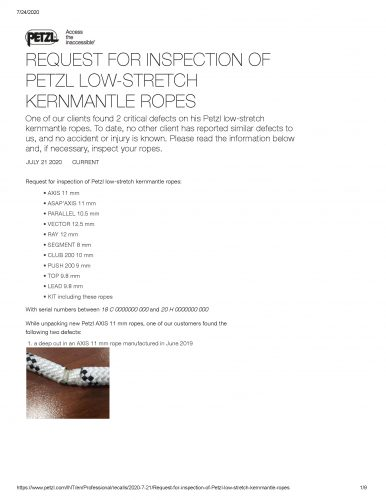 Request for Inspection of Petzl Low Stretch Ropes CRITCIAL AND URGENT Page 1