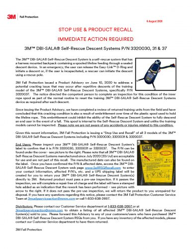 Self Rescue Recall Notice release August 6th Final Rev B
