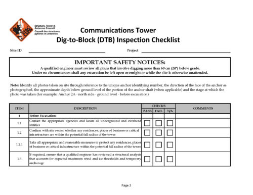 STAC Communications Tower Dig to Block Inspection Checklist Page 03