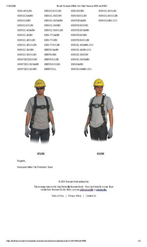 Recall Honeywell Miller Arc Flash Harness 850K and 650K 1 Page 2